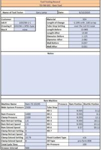Electronic Tool Testing Record